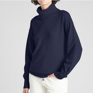 GAP Navy 100% Cashmere Turtleneck Sweater Tall M